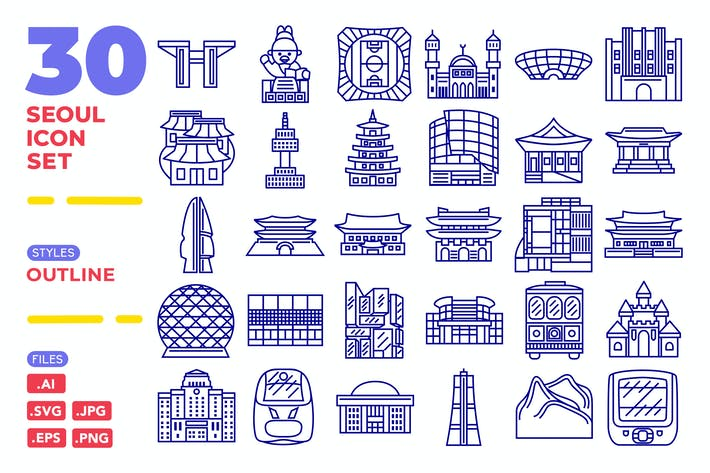 Thumbnail for Seoul Icon Set (Outline)