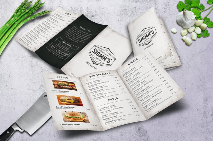 Thumbnail for Sigma Minimal Trifold Menu A4 and US Letter