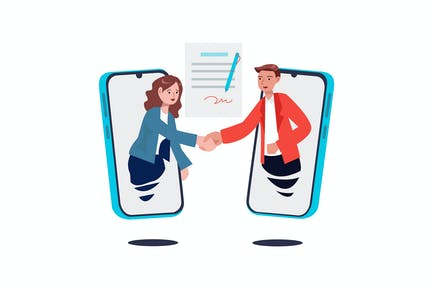 Contract signing, handshake via smartphone