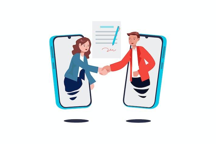 Thumbnail for Vertragsunterzeichnung, Handshake per Smartphone