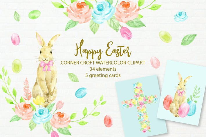Thumbnail for Happy Easter Cards and Illustration