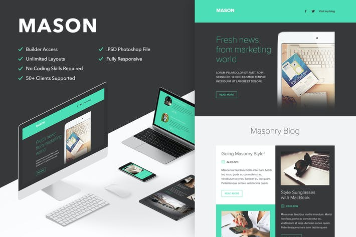 Cover Image For Mason - Responsive Email + Themebuilder Access