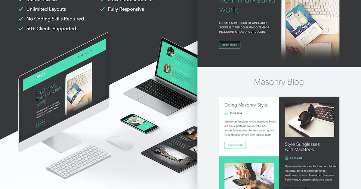 Download Mason - Responsive Email + Themebuilder Access by RocketWay