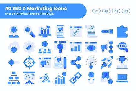 40 SEO & Marketing Icons Set - Flach