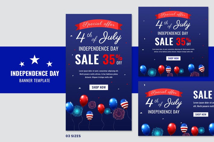 Thumbnail for Independence Day Sale Banners Social Media