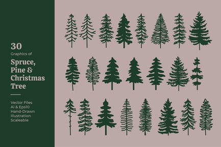 Spruce, Pine & Christmas Tree Silhouette Vector