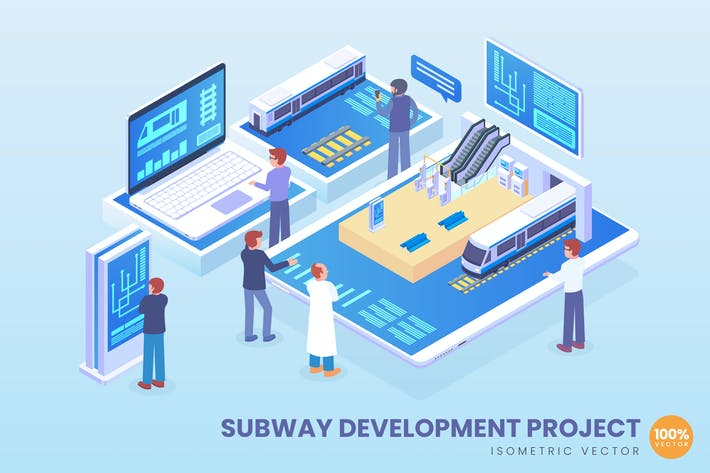 Thumbnail for Isometric Subway Development Project Vector