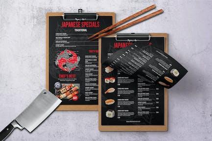 Japanese Single Page A4 & US Letter Food Menu