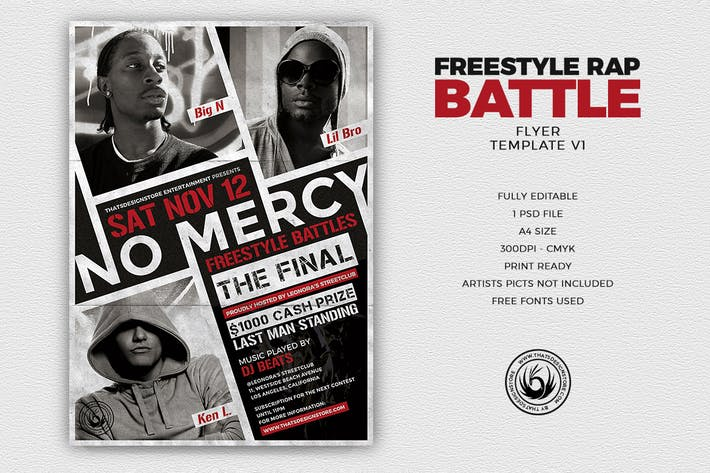 Thumbnail for Freestyle Rap Battle Flyer Template V1