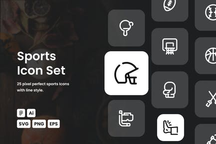 Sport gestrichelte Linie Icon Set
