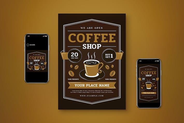 Wir sind Open Coffee Shop Flyer Set