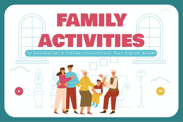 Thumbnail for Family Activities Illustration Set