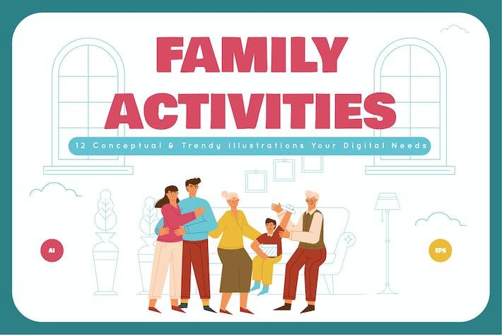 Family Activities Illustration Set