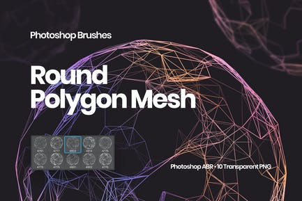 Round Polygon Mesh Photoshop Brushes