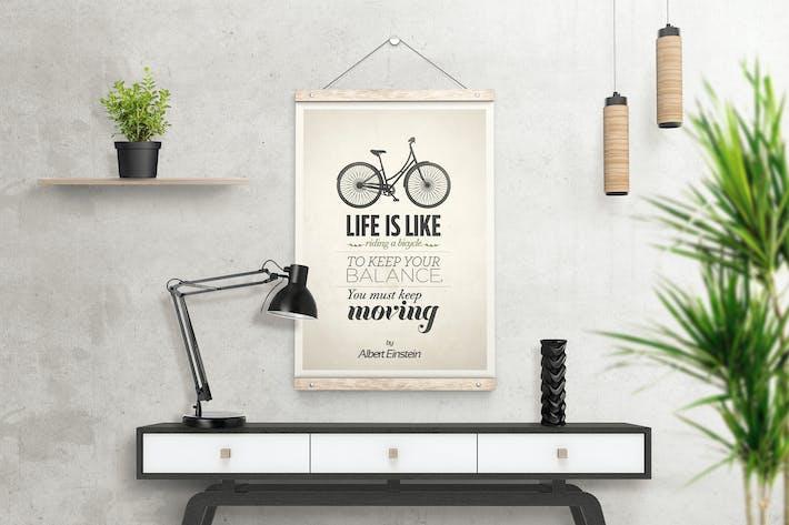 Thumbnail for Wooden Poster Hanger Mockup