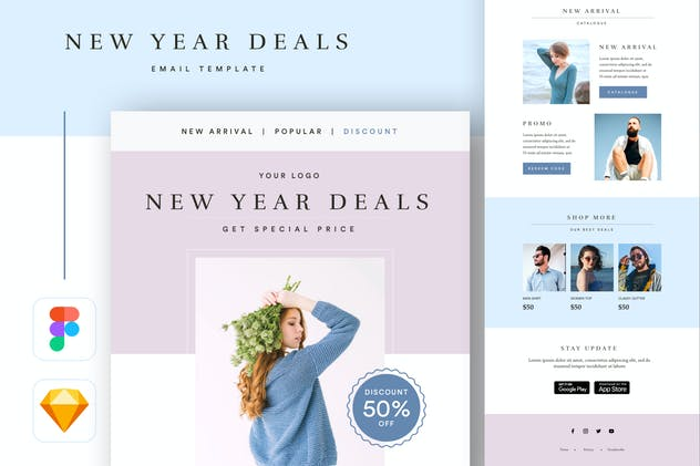 New Year Purple Fashion Email Newsletter Template