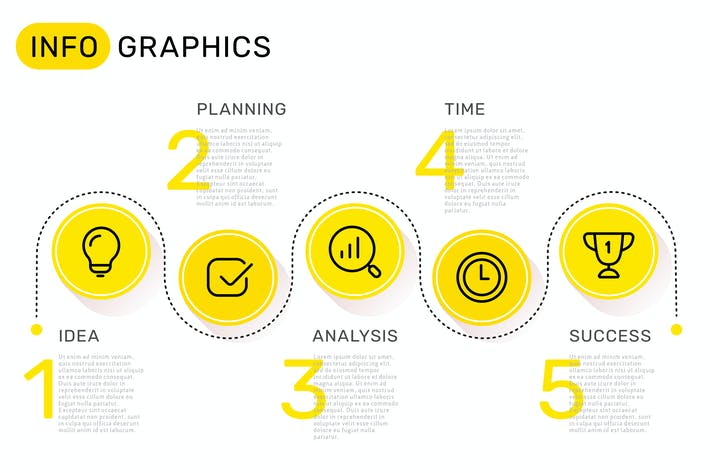 Thumbnail for Set of infographic templates + business icons