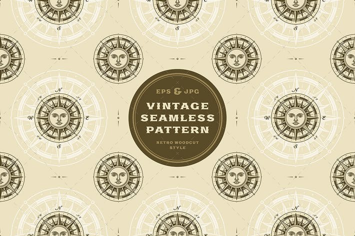 Cover Image For Seamless vintage sun compass rose pattern