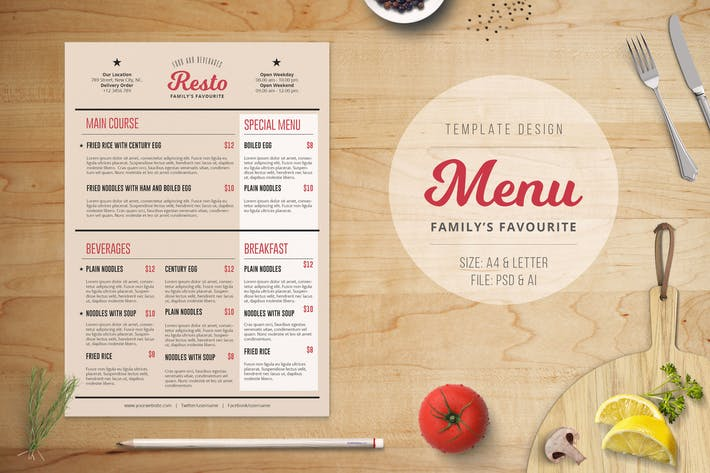 Cover Image For Family Resto Menu Template