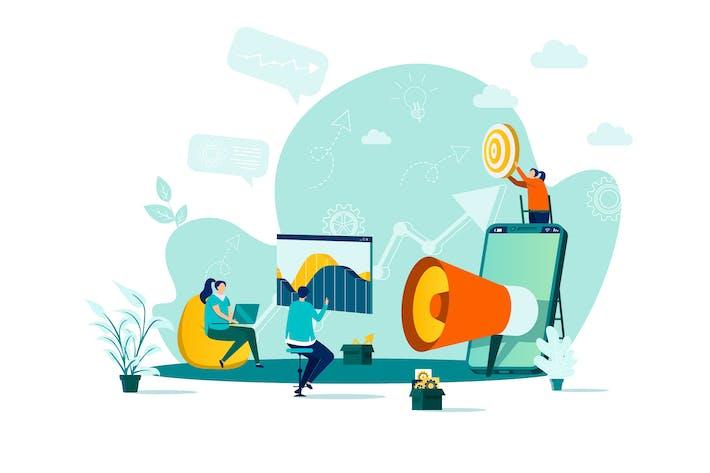 Digital Marketing Flat Concept Vector Illustration