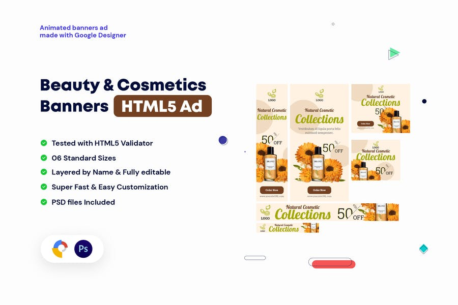 Beauty and Cosmetics Banners HTML5 - GWD & PSD