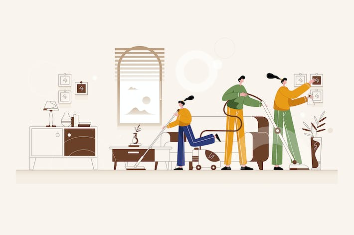 Thumbnail for Family Cleaning House - Vector Illustration