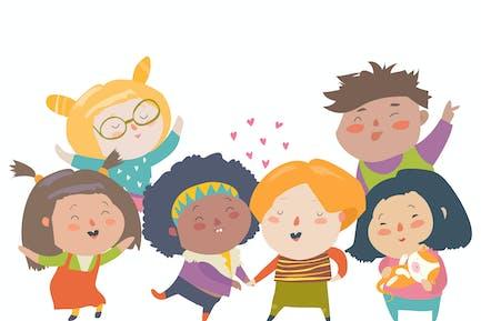 Ilustración Vector aislada de niños en Grupo