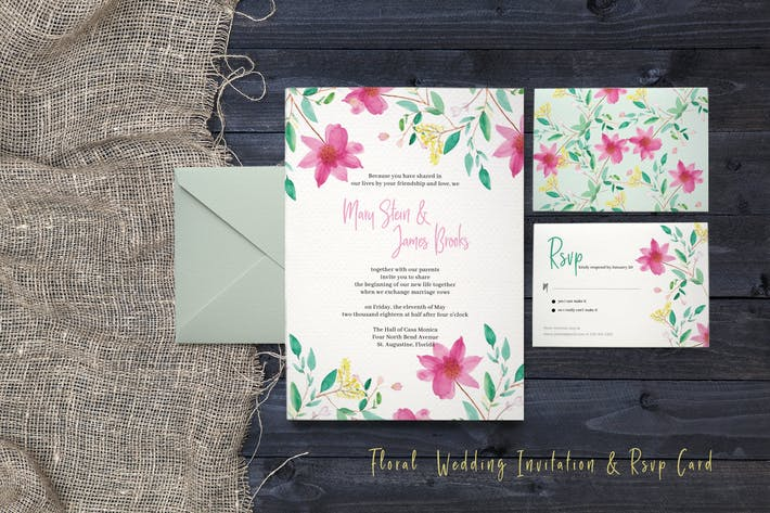 Thumbnail for Floral Wedding Invitation & Rsvp card