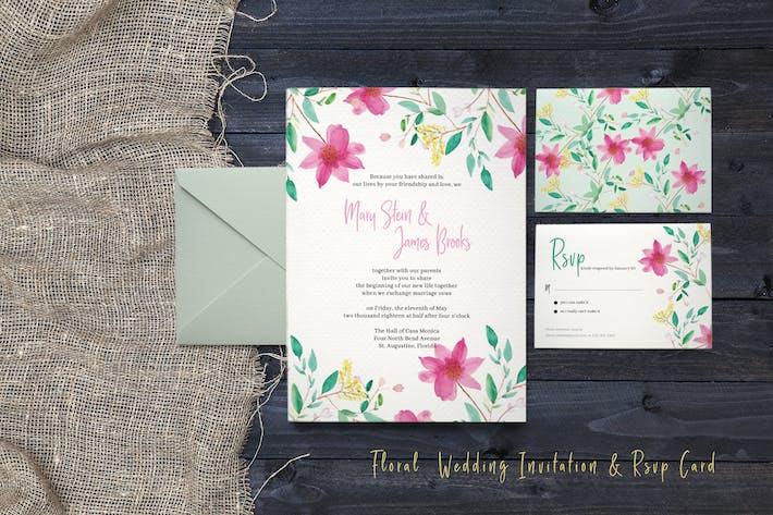 Thumbnail for Carte d'invitation de mariage florale et de confirmation