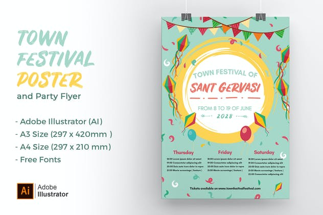 Colors Town Festival Poster and Party Flyer