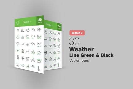 30 Wetterlinien grüne & schwarze Icons Saison II