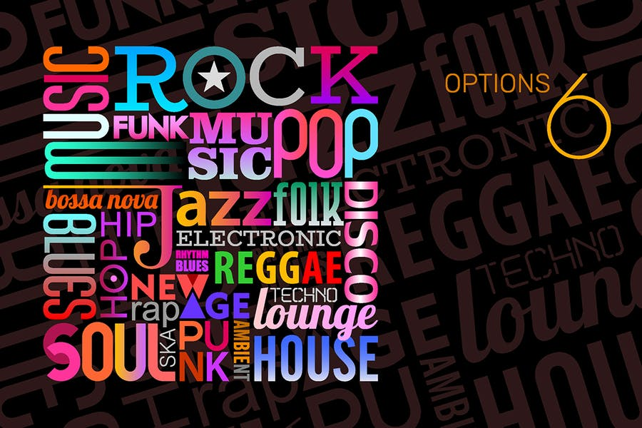 Music Styles vector text design (6 options)