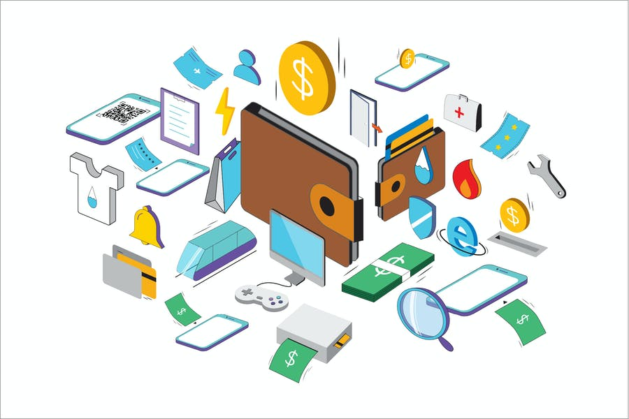 Isometric Wallet Icons - TH