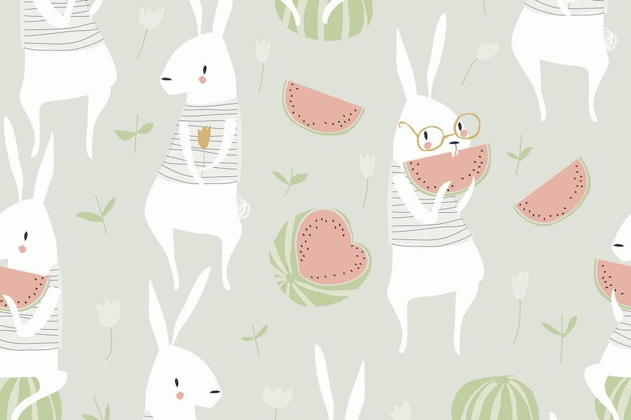 Vector seamless pattern with cute rabbits and wate