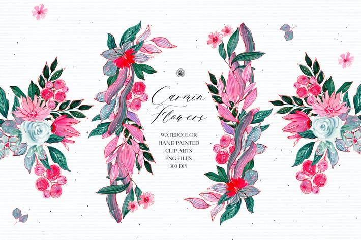 Thumbnail for Watercolor Carmin Flowers - floral set