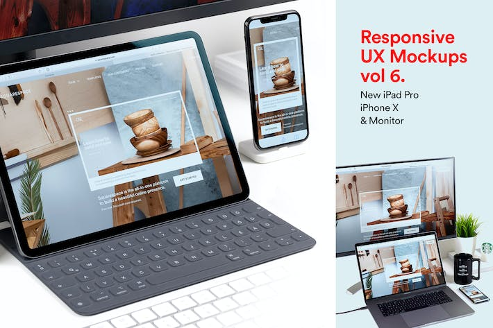 Thumbnail for Responsive Mockup Set - New iPad Pro iPhone X