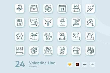 24 Valentine Line Icon