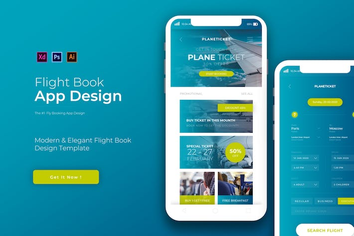 Thumbnail for Flight Book | App Design Template