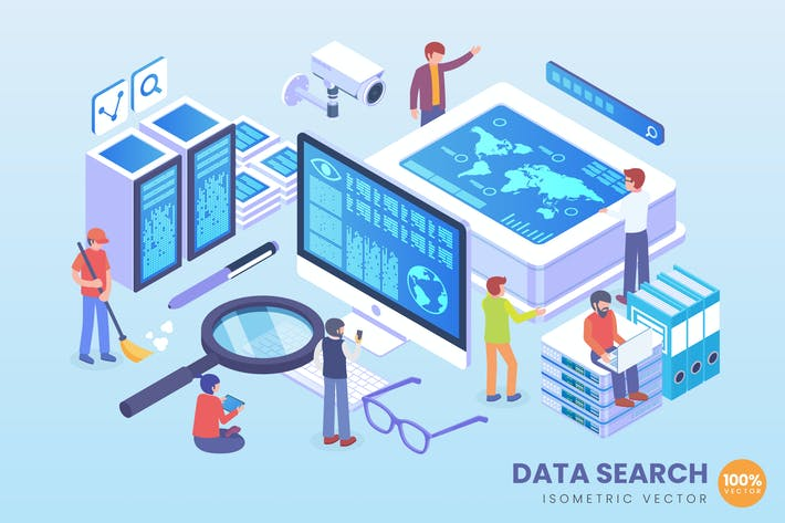 Thumbnail for Isometric Data Search Vector Concept Illustration
