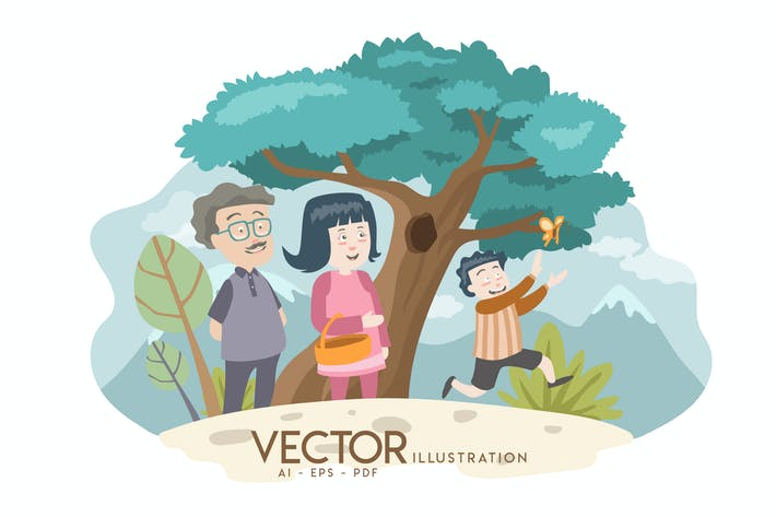 Cover Image For Family - Vector Illustration