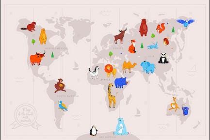 Tiere auf Weltkarte flache Illustration