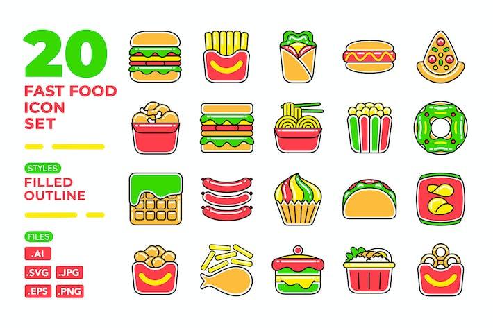 Thumbnail for Fast Food Icon Set (gefüllte Gliederung)