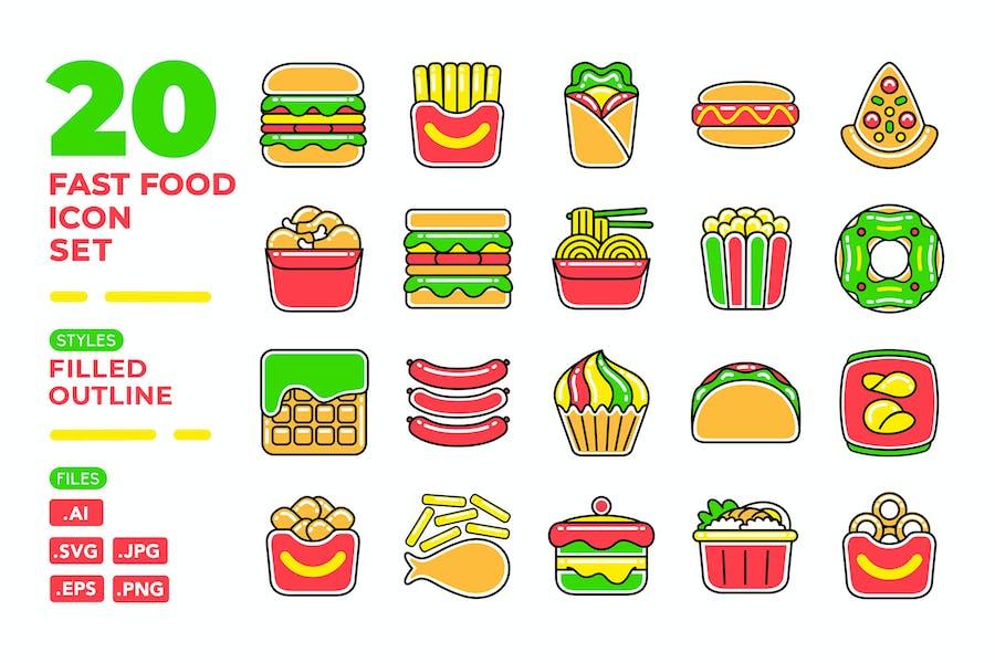 Fast Food Icon Set (Filled Outline)