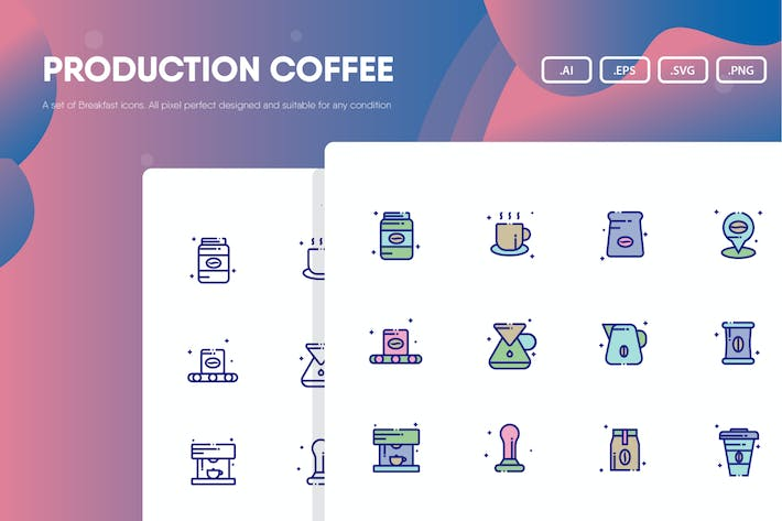 Thumbnail for Production Coffee Icon Pack