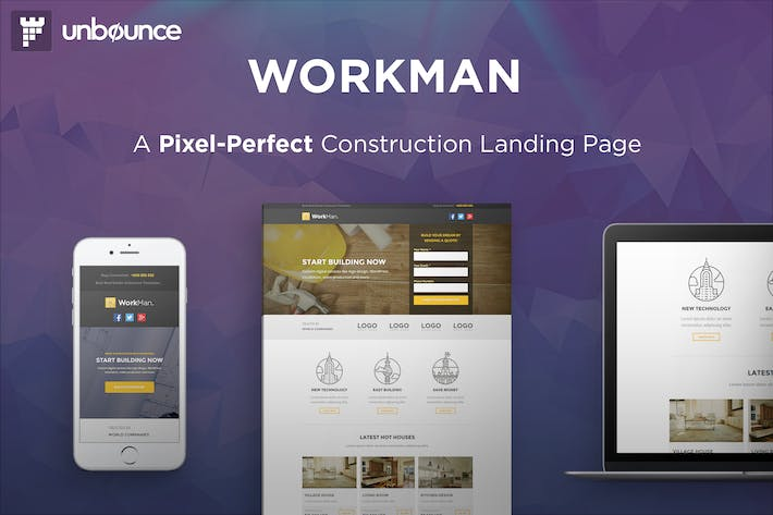 Thumbnail for WorkMan - Construction Unbounce Landing page