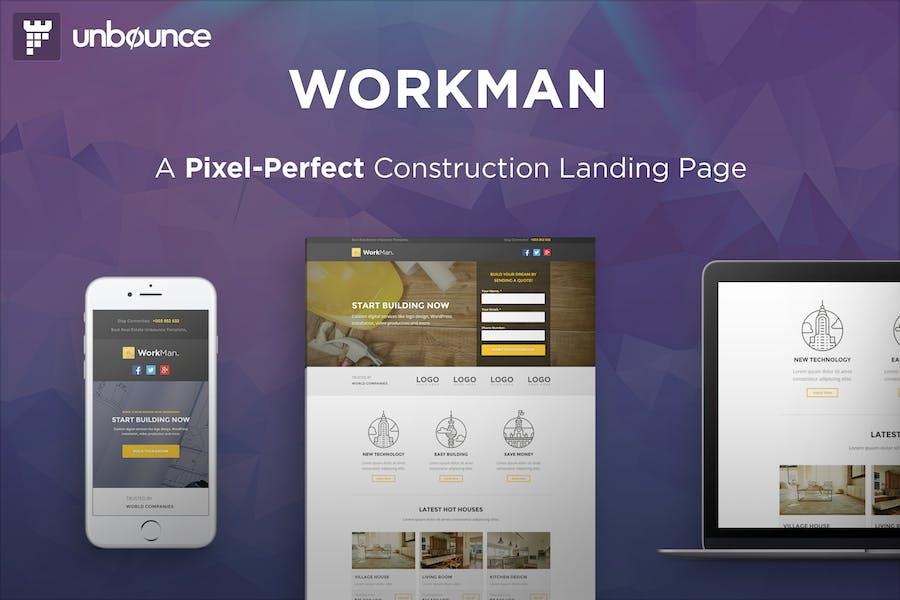 WorkMan - Página de inicio de Construcción Unbounce