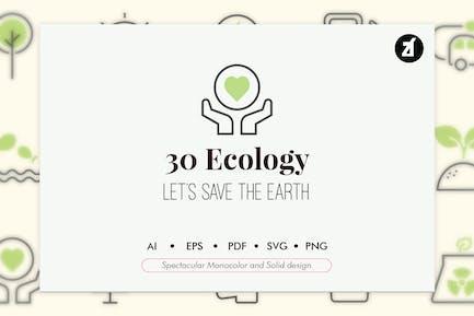 30 Ökologie-Elemente in monocolor und solide Ausführung
