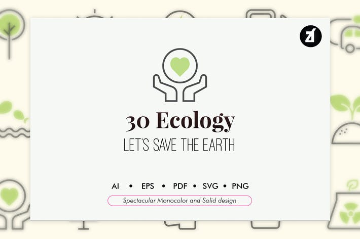 Thumbnail for 30 Ecology elements in monocolor and solid design