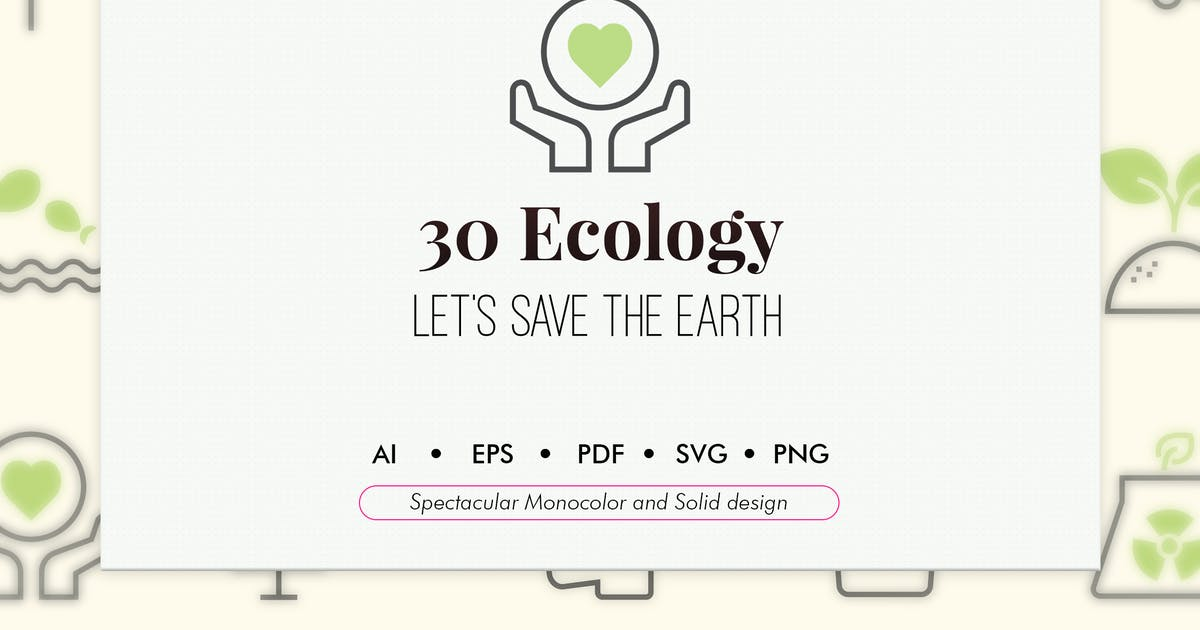 Download 30 Ecology elements in monocolor and solid design by Chanut_industries