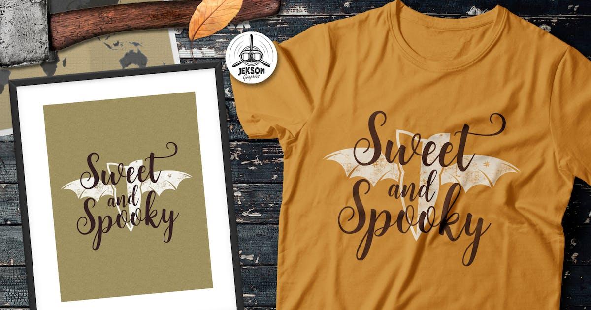 Download Halloween Spooky Print T-Shirt. Retro Badge Design by JeksonJS